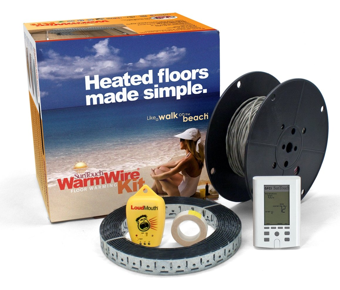 SunTouch WarmWire (120V) Floor Heat Kit, 40 sq ft cable adaptable to any layout and adds luxury and comfort to any room under tile/stone includes user-friendly Command Touch Programmable Thermostat