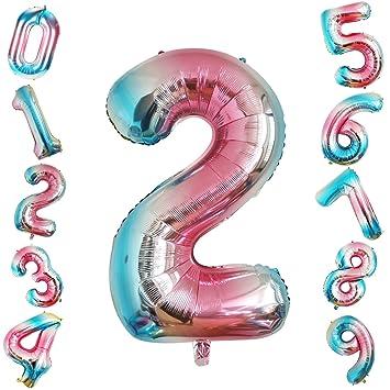 Siumir Globo de Número Globo Digital Gigante 40 Pulgadas Arcoiris Gradient Papel De Aluminio Globo Decoración de Fiestas de Cumpleaños (Número 2)