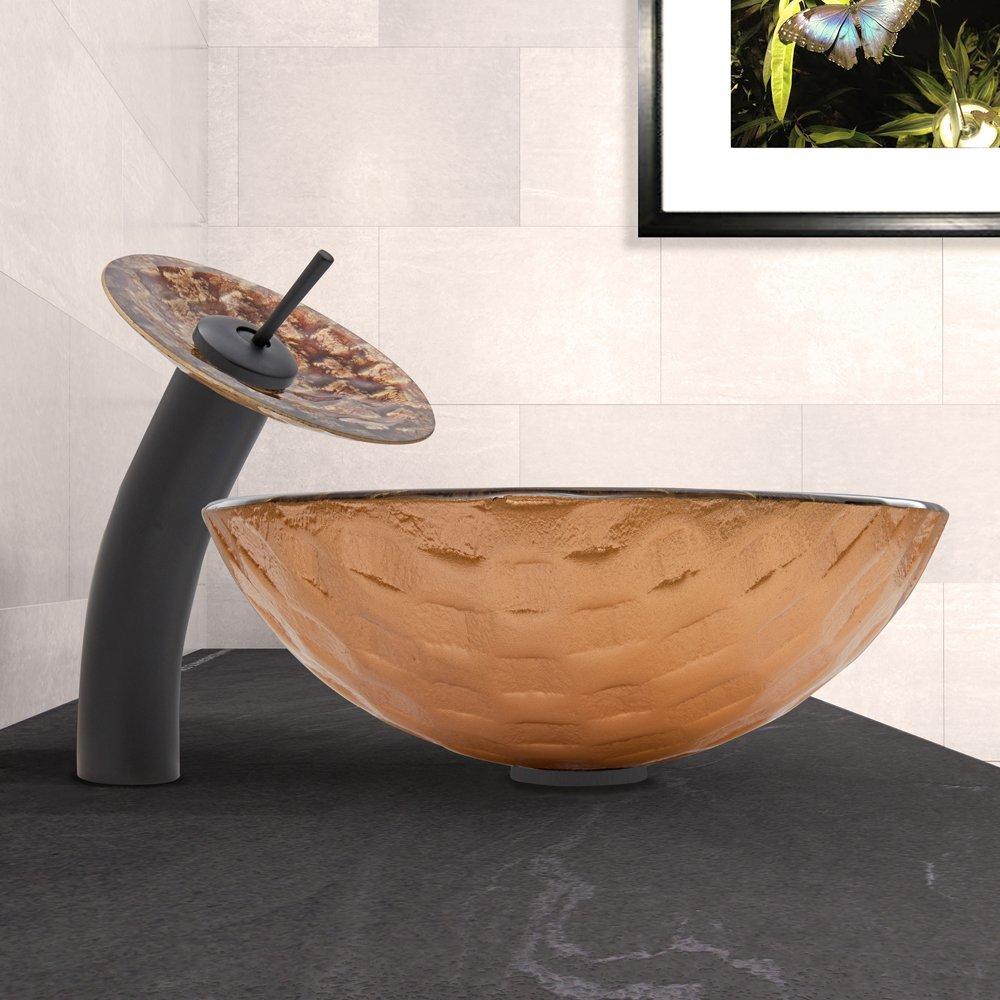 Matte Black VIGO Playa Glass Vessel Bathroom Sink and Waterfall Faucet with Pop Up