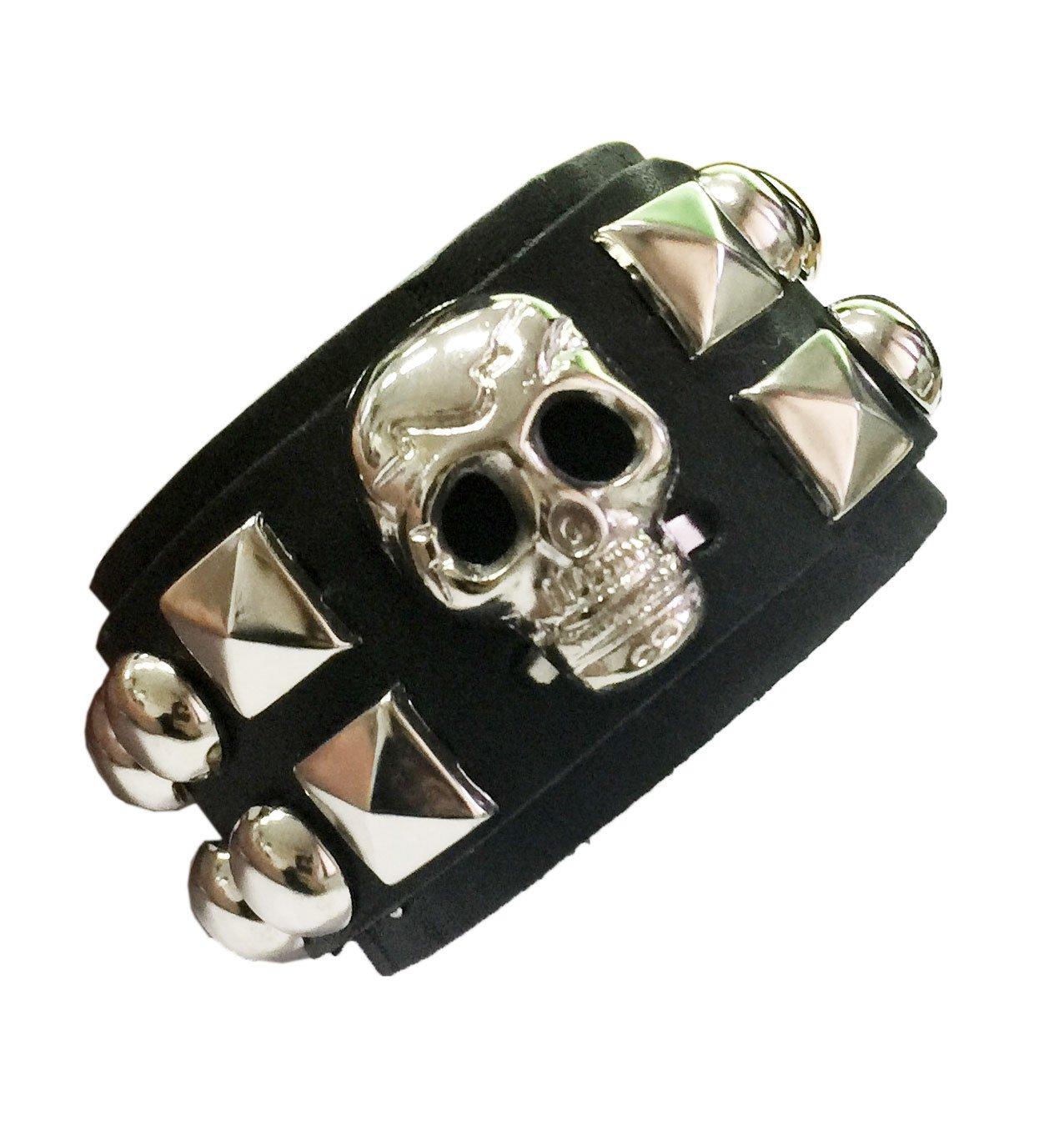 D'SHARK 1.5'' Wide Skull Design Biker Leather Bangle Cuff Bracelet Wristband for Unisex (Black3)