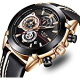 LIGE Watches Mens Business Luxury Gent Leather Dress Wristwatch Analogue Quartz Waterproof Watch Casual Luminous Chronograph Multifunction Military Sport Watch for Men Black