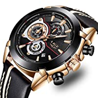 LIGE Men's Fashion Sport Quartz Watch with Brown Leather Strap Chronograph Waterproof Auto Date Analog Black Men Wrist Watches … … …