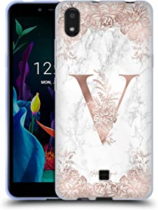 Head Case Designs Officially Licensed Nature Magick Letter V Rose Gold Marble Monogram 2 Soft Gel Case Compatible with LG K20 (2019)