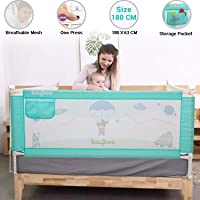 Baybee Bed Rail Guard for Baby Safety-Portable and Foldable Full Bed Rail for Kids (Green, 180x63 cm)