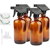 Empty Spray Bottles, Maredash Amber Glass Bottle w/Black Trigger Sprayer & Labels & Lids, Refillable Container for Water…