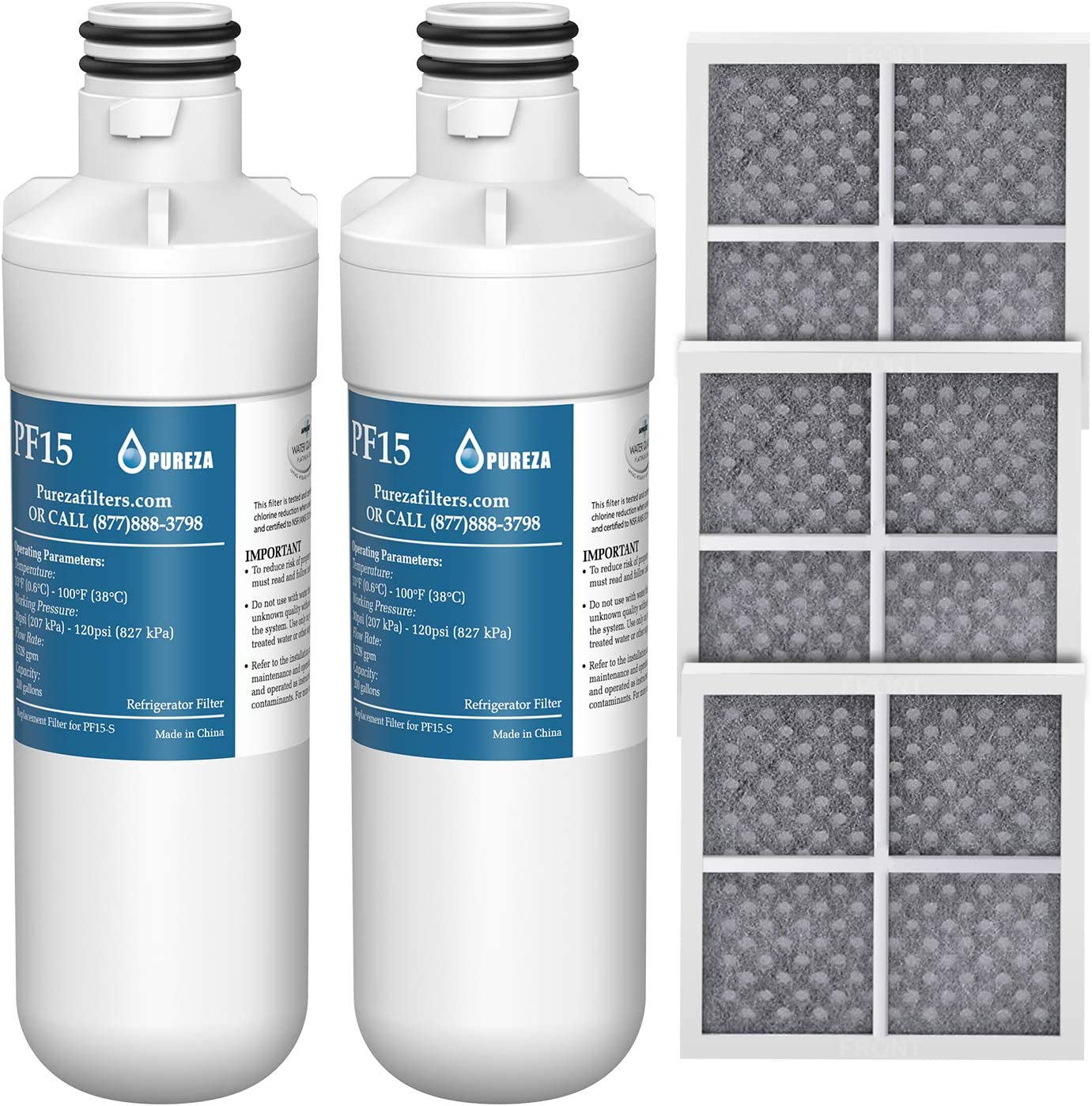 LT1000P Refrigerator Water Filter and Air Filter, Compatible with LG LT1000P, LT1000PC, MDJ64844601, ADQ747935, Kenmore 46-9980, and LG LT120F, ADQ73214404 Air filter Combo, by Pureza