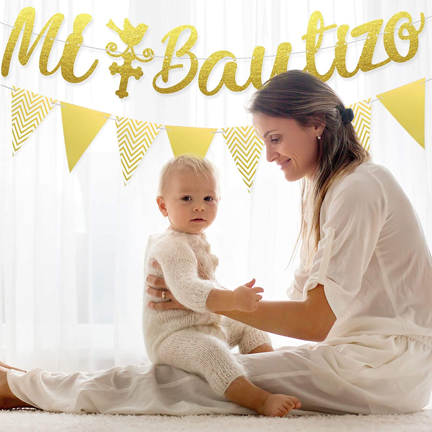 Pre-Strung Banners Gold Glitter Mi Bautizo Banner Triangle Flag Banner Glitter Mi Bautizo Cake Topper First Communion Decoration Accessories Baby Shower Supplies Party Ornaments