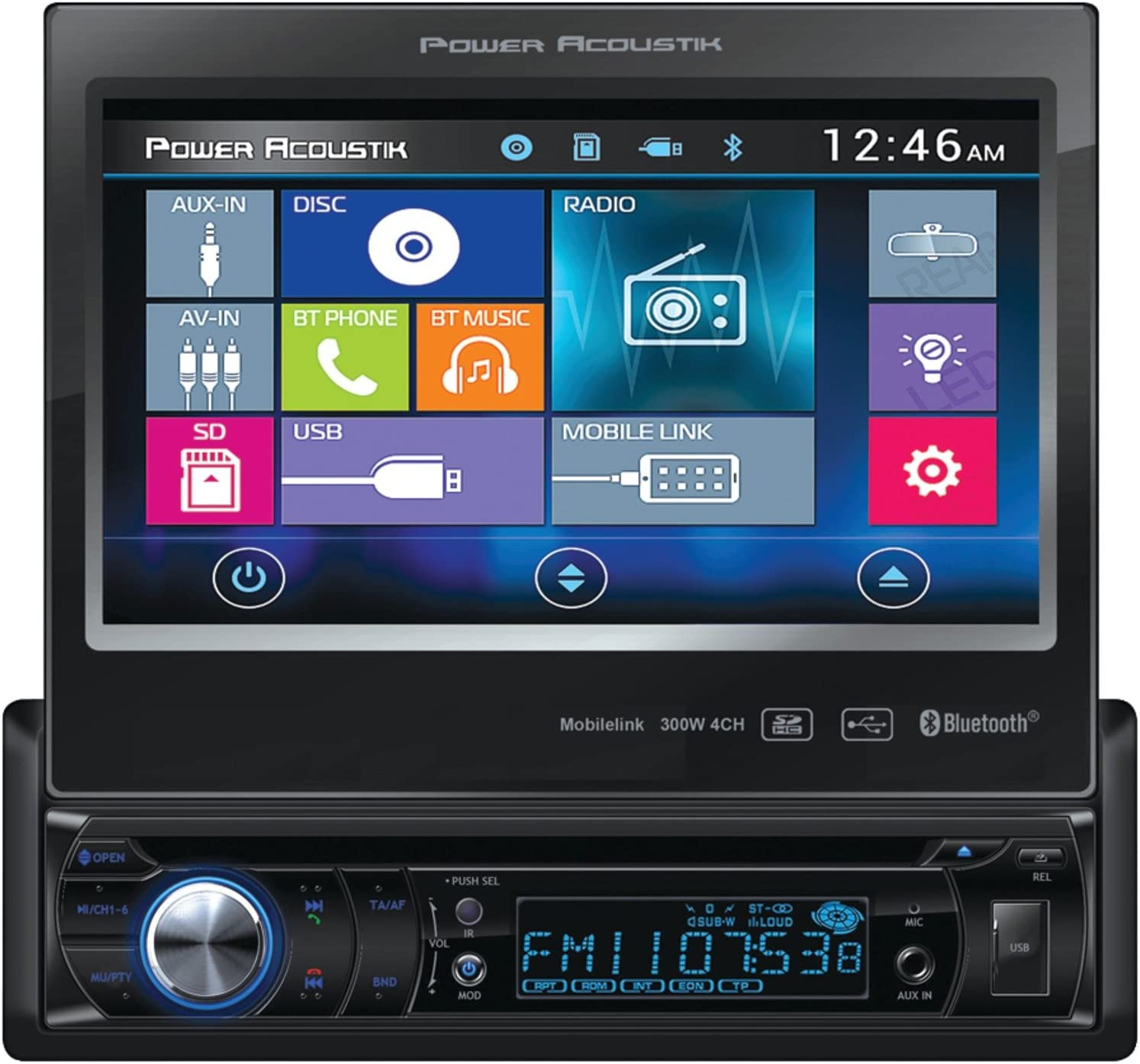 "Power Acoustik 7"" Single-din in-Dash Motorized LCD Touchscreen DVD Receiver (PD-724HB)"