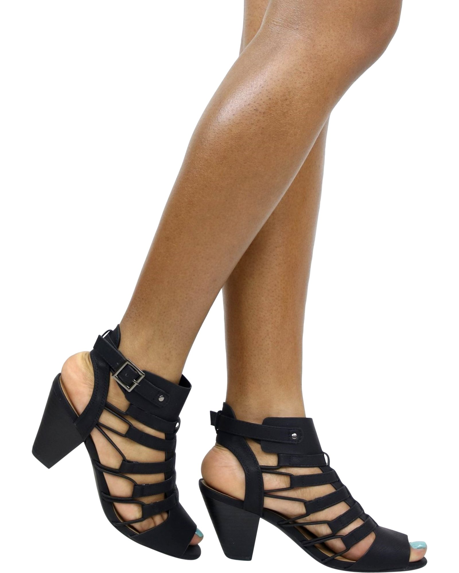 City Classified Women's Casual Styl Awesome Gladiator Strappy Chunky Block Heel Synthetic Lightly Padded Insole Sandals (8.5, Black)