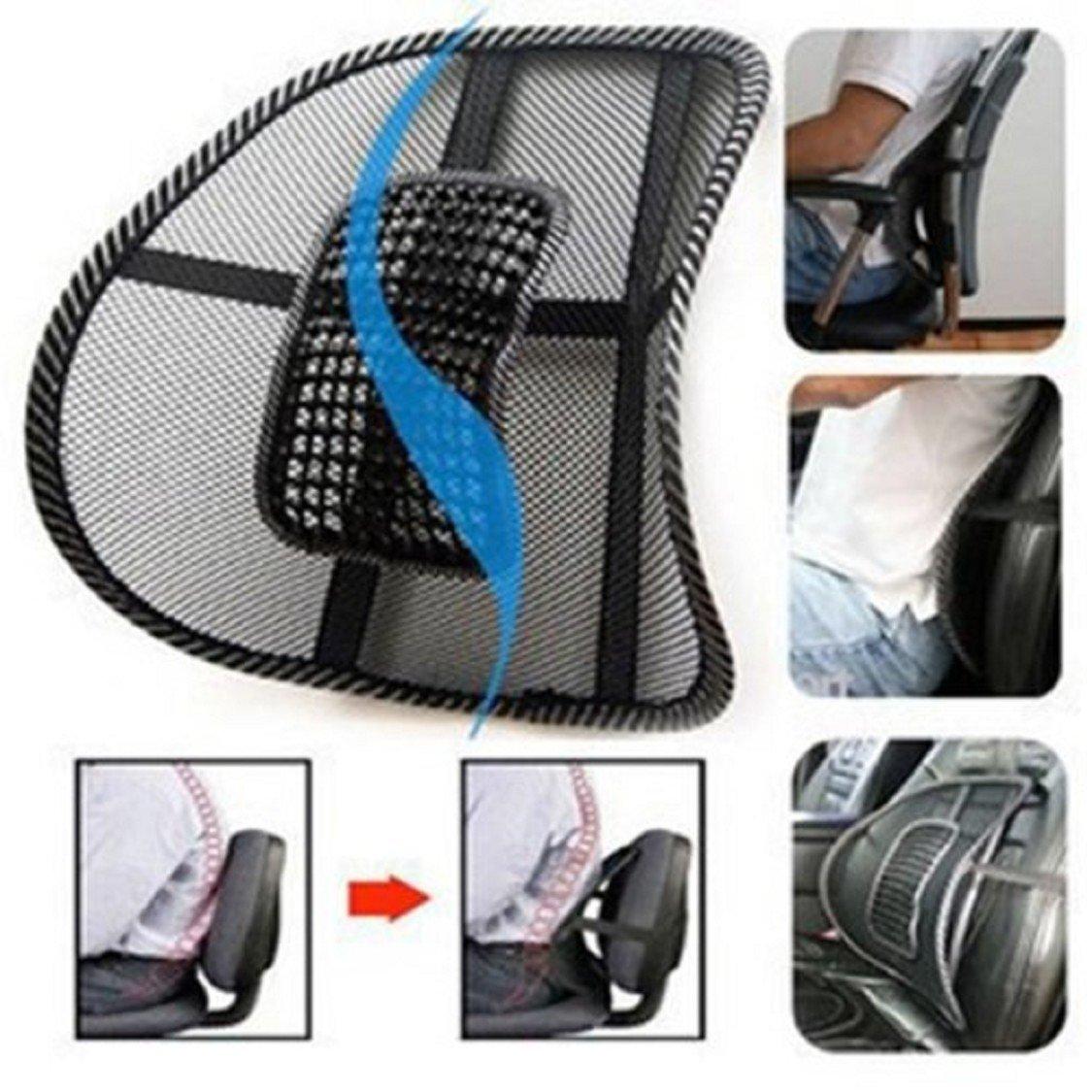 Naladoo Black Mesh Lumbar Back Brace Support Office Home Car Seat Chair Cushion IU32566436436