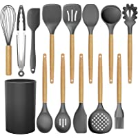 BRITOR 14 Pcs Silicone Cooking Kitchen Utensils Set with Holder,Woodle Handle BPA Free Non Toxic Non-Stick Heat…