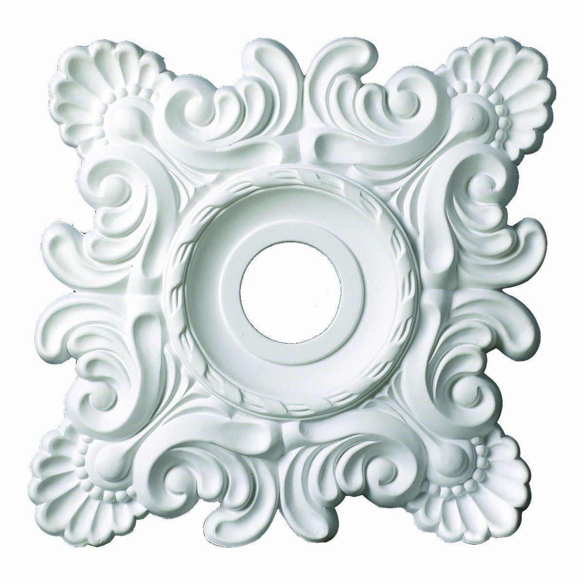 18 Inch Square Ceiling Medallion 3 5/8'' ID White Primed Polyurethane #537 By Designer's Edge Millwork