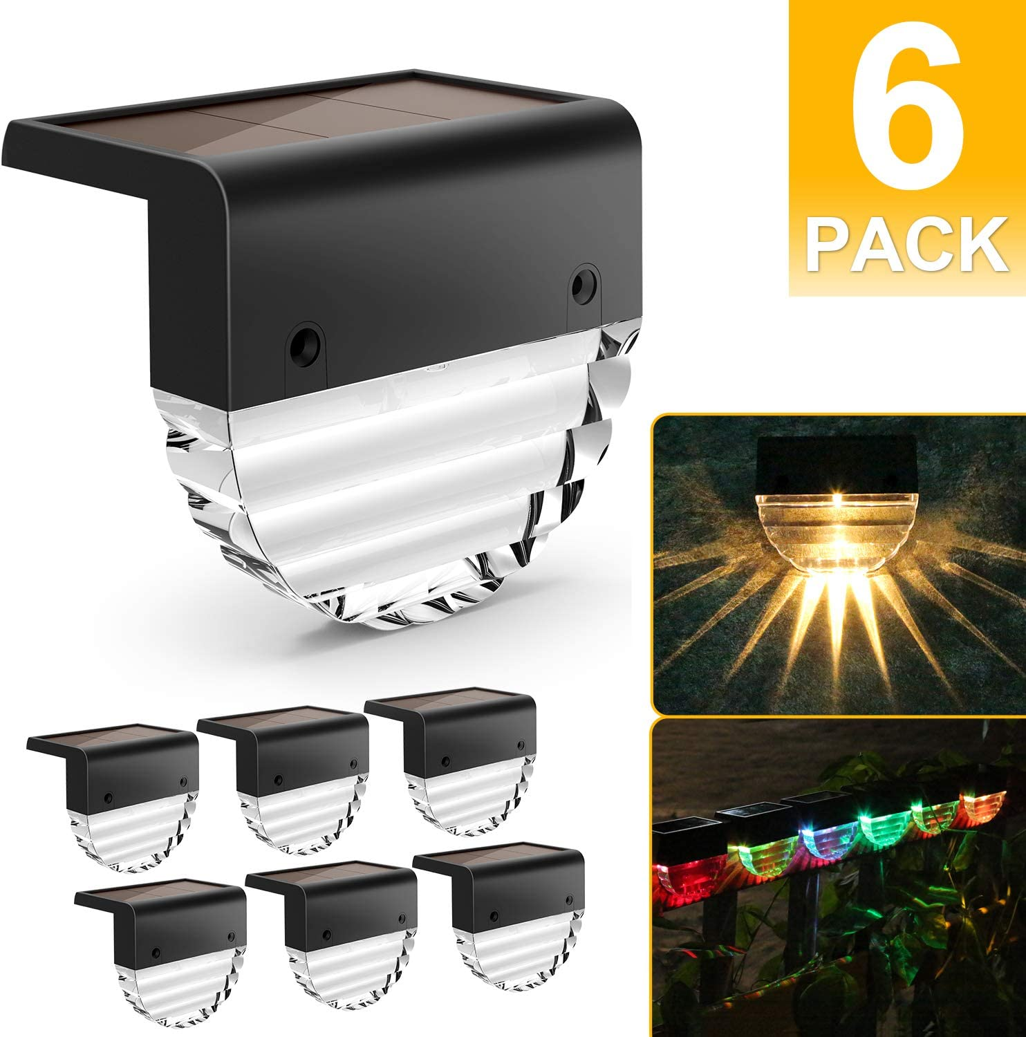 4X LED Solar Deck Light Waterproof Outdoor Garden Pathway Yard Stairs Fence Lamp