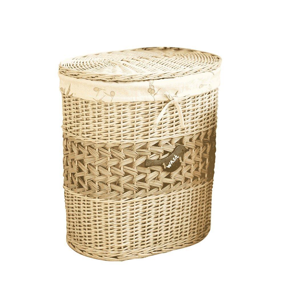 Lagerung Korb CHENGYI Überdachte Oval Schmutzige Kleidung Korb Rattan Weide Kleidung Weben Finishing Box Spielzeug Aufbewahrungsbox (größe : Large: 49  37  56cm)