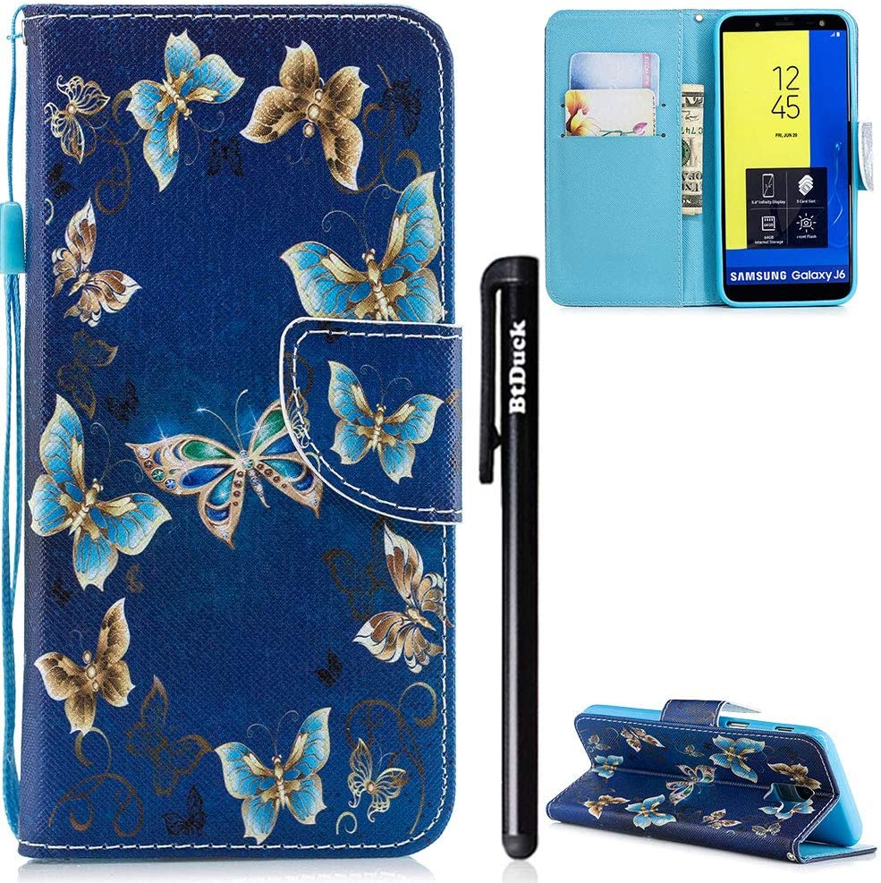 BtDuck Compatible with Galaxy J6 2018 Samsung J6 2018 Case Shockproof Stand Flip Phone Protective Purple Cards Slots Vintage Pattern Case Blue Slim Holster Butterfly Cat Black cat