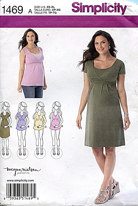 Simplicity 1469 Size A Maternity And Nursing Knit Top Or Dress