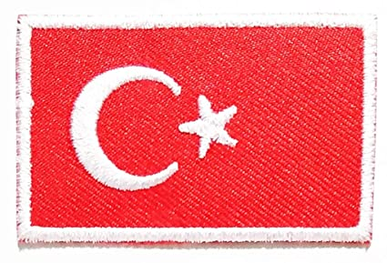 caa04735091b38 PP Patch Mini Flag of Turkey Turkish Star Crescent Moon Flag Logo  Embroidered Patch Sew on