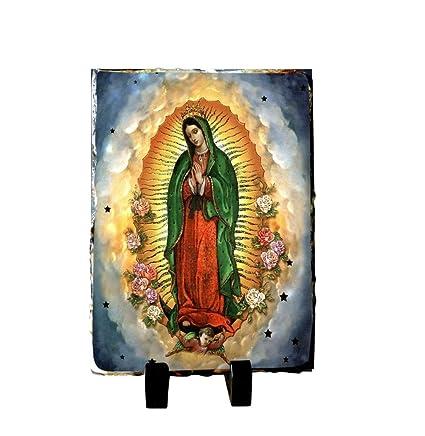 Amazon.com: Virgen de Guadalupe Placa de Pizarra Piedra ...