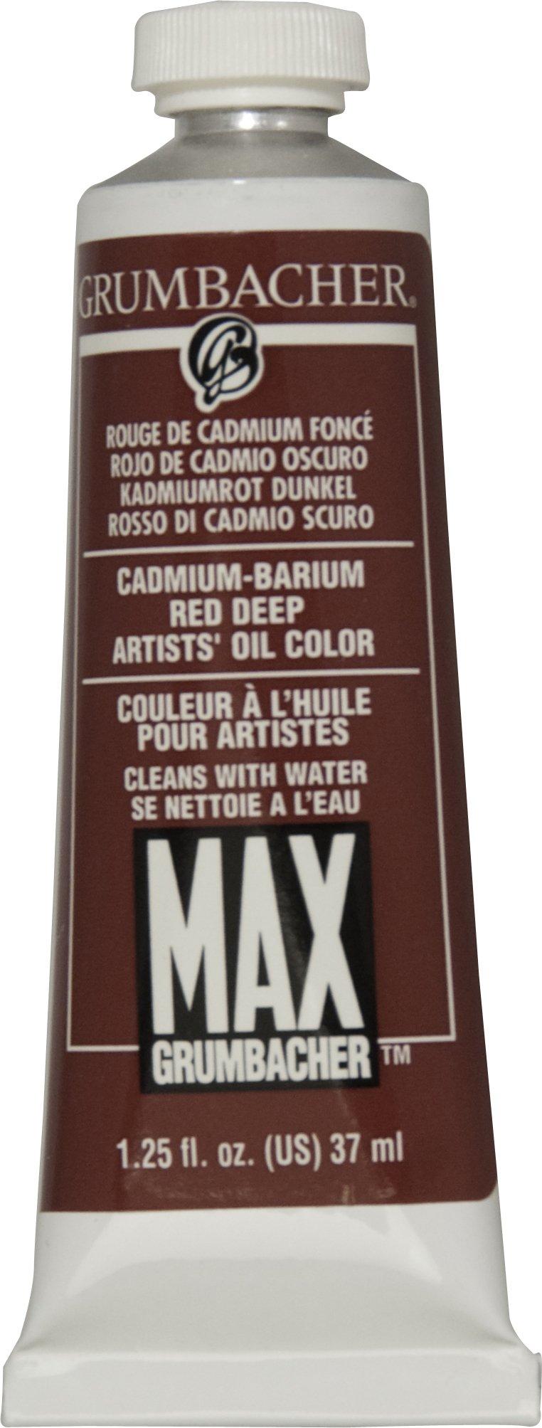Grumbacher Max Water Miscible Oil Paint, 37ml/1.25 oz, Cadmium-Barium Red Deep