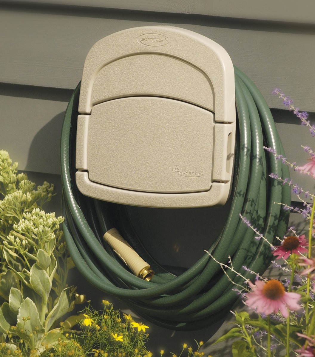 Suncast DHH150 Deluxe Garden Hose Hangout with 150-Foot Hose Capacity And Enclosed Storage Compartment, Taupe