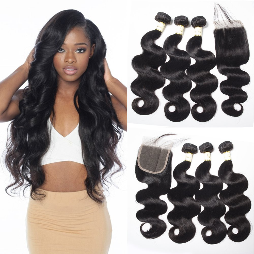 Ugrace Hair Bundles with Closure Body Wave with Closure Brazilian Virgin Hair with Closure 100% Human Hair with Crochet Closure with Bleached Knots Can Be Dyed and Bleached 20 22 24+18 Inch Free Part