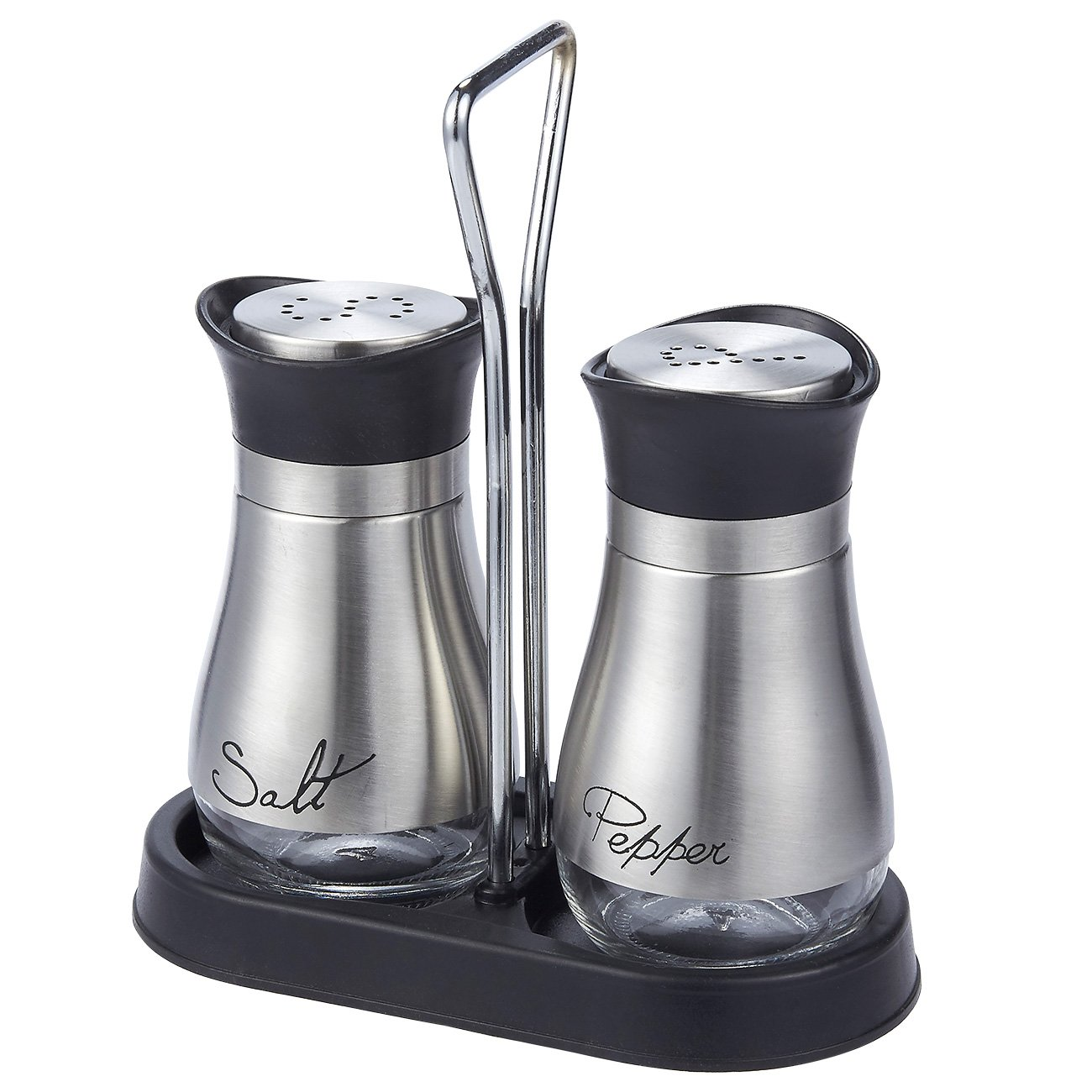 """Salt and Pepper Shakers Set - High Grade Stainless Steel with Glass Bottom and 4' Stand - 4"""" x 6"""" x 2"""", 4 oz."""