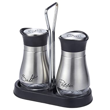 Salt and Pepper Shakers Set - High Grade Stainless Steel with Glass Bottom and 4' Stand - 4  x 6  x 2 , 4 oz.