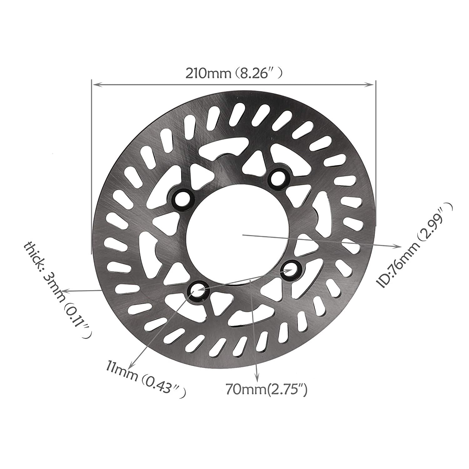TDPRO 70//100-17 Wheel Tire and Rim Inner Tube With 15mm Bearing /& 210mm Brake Disc Rotor for Dirt Pit Trail Bike
