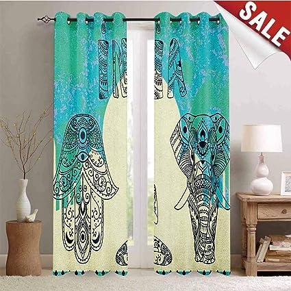 Amazon.com: Yoga Decor Curtains by Ethnic Elephant Hamsa ...