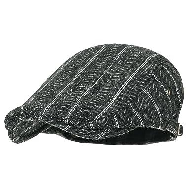 c4c1b4d386f90 ililily Wool-Blend Fitted Gatsby Newsboy Hat Stripe Cabbie Hunting Flat Cap