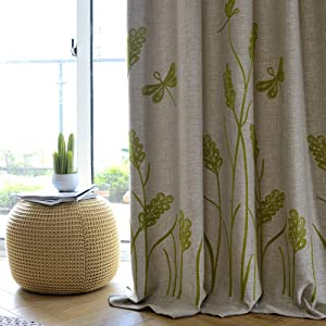 Melodieux Wheat Embroidery Linen Thermal Insulated Blackout Grommet Top Window Curtains for Living Room, Beige/Green, 52 by 84 Inch (1 Panel)