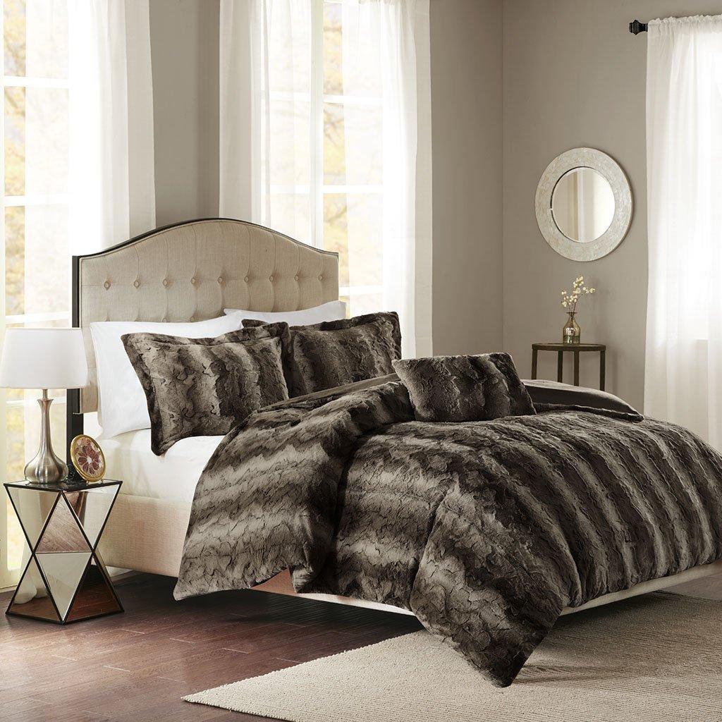 Madison Park Zuri Duvet Cover King Size - Khaki, Animal Duvet Cover Set – 4 Piece – Faux Fur Light Weight Bed Comforter Covers
