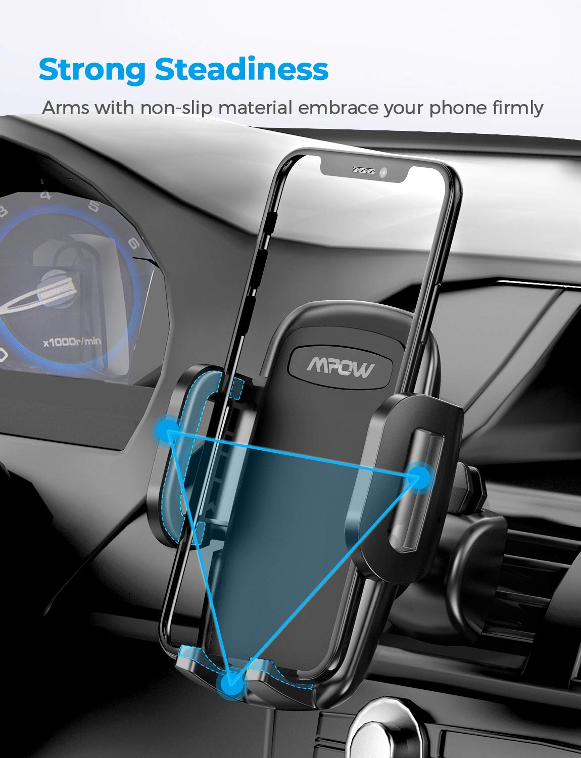 Rotatable Air Vent Phone Holder Compatible iPhone 11Pro Max//XS//XR//X//8//7//6 Plus and Cell Phone Under 6.8 inch Vent Mount Mpow Vent Phone Holder 3-Level Adjustable Car Phone Mount