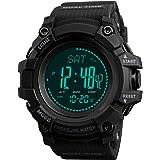 Mens Digital Watch Compass Pedometer Calorie Counter Altimeter Barometer Temperature Stopwatch Military Sports Fitness Activi