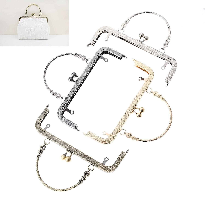 Metal Frame Kiss Clasp Lock Arch for Sewing Handbag Purse Coins Bag 20cm x 15cm Bronze