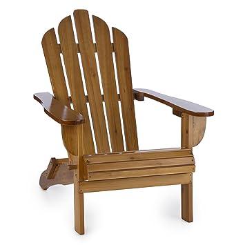 hohe R/ückenlehne und Tiefe Sitzfl/äche braun zusammenklappbar Adirondack-Stuhl max Deluxe Edition 150 kg witterungsbest/ändig PU-Lackierung blumfeldt Vermont Gartenstuhl aus Tannenholz