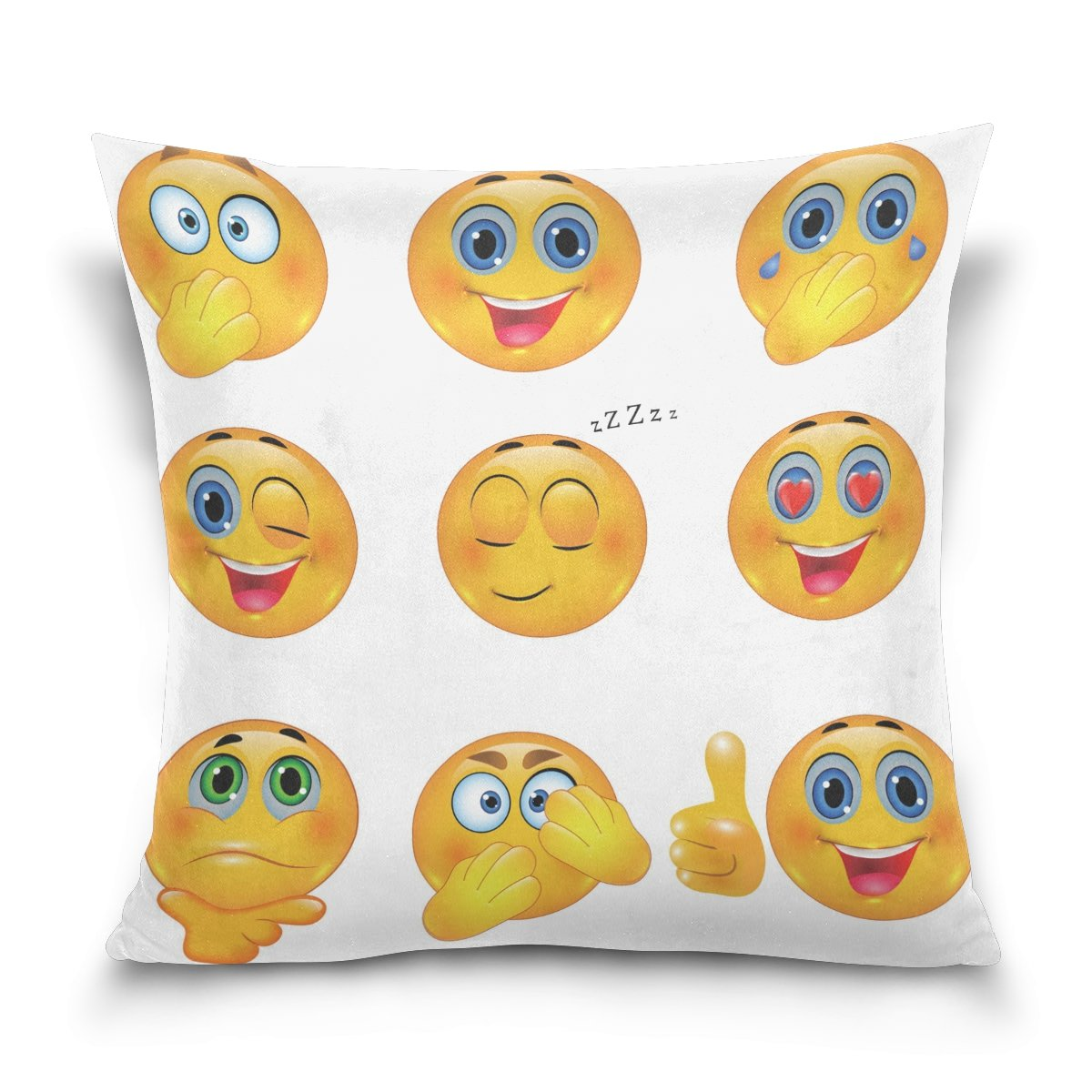 ALAZA Funny Emoji Cotton Pillowcase 20 X 20 Inches Twin Sides, Smiley Emotional Faces Pillow Case Sham Cover Protector Decorative for Home Hotel Couch Ded