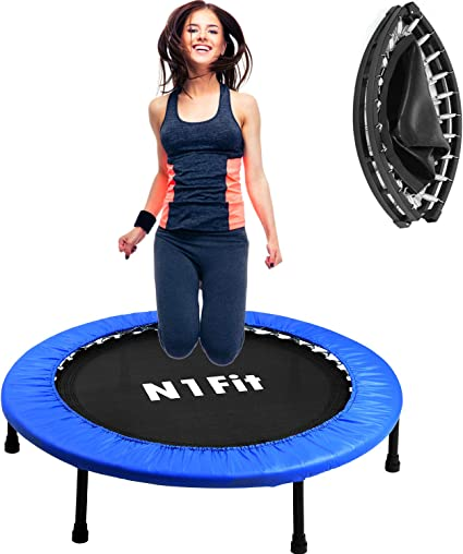 """Amazon.com : N1Fit 40"""" Mini Trampoline for Adults - Exercise Trampoline, Mini  Trampolines, Personal Trampoline, Trampoline Small Indoor, Rebounding Tiny  Trampoline with Springs System for Home Cardio Workouts : Sports & Outdoors"""