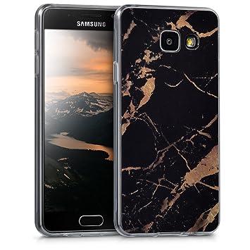 kwmobile Funda para Samsung Galaxy A3 (2016) - Carcasa de [TPU] para móvil y diseño de mármol clásico en [Negro/Dorado]