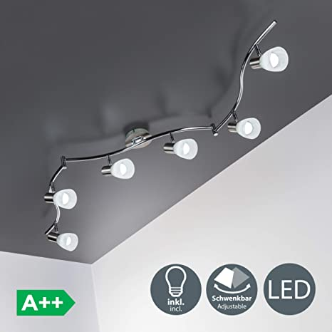 Lámpara de techo LED con focos giratorios incl. 6 x 5W LED bombillas, Color cromo, luz blanco cálido 3000K 230V, IP20, Orientable