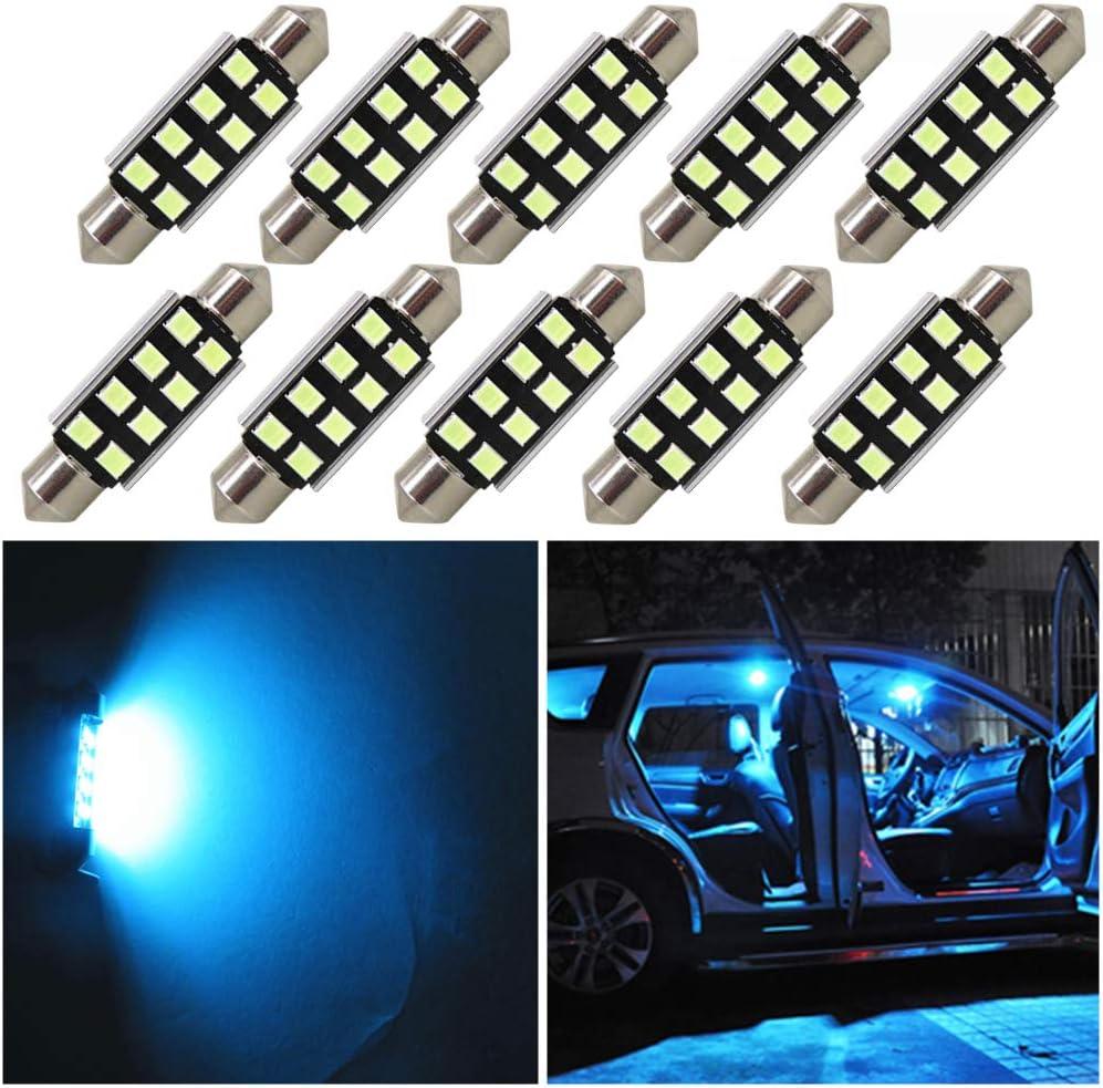 Super White 39mm-42mm 10W Error Free Dome Map License LED Interior Light Bulbs