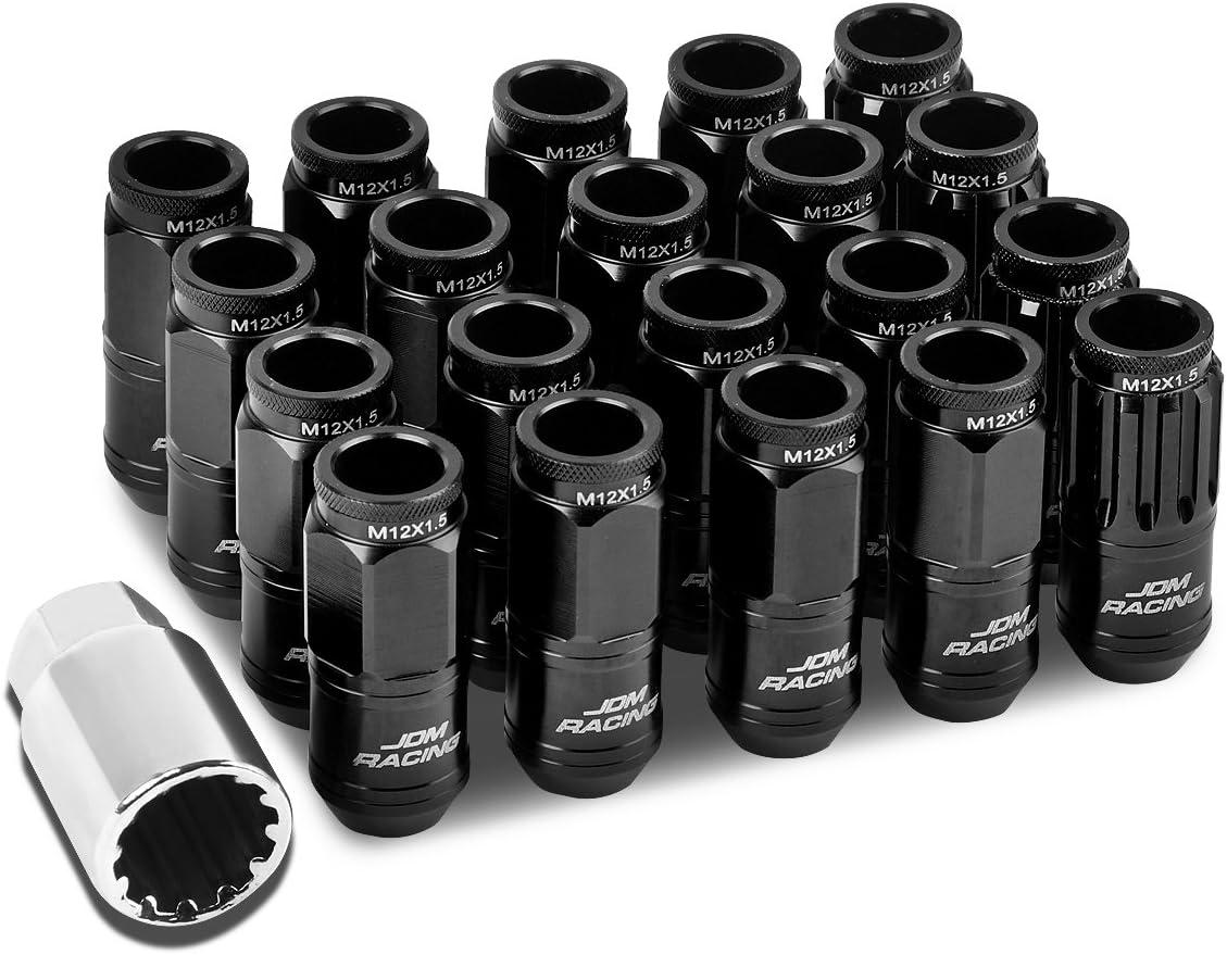 Black Open End Design 16-Piece M12 x 1.5 Aluminum Alloy Wheel Lug Nuts 4 x Lock Nut 1 x Lock Nut Key
