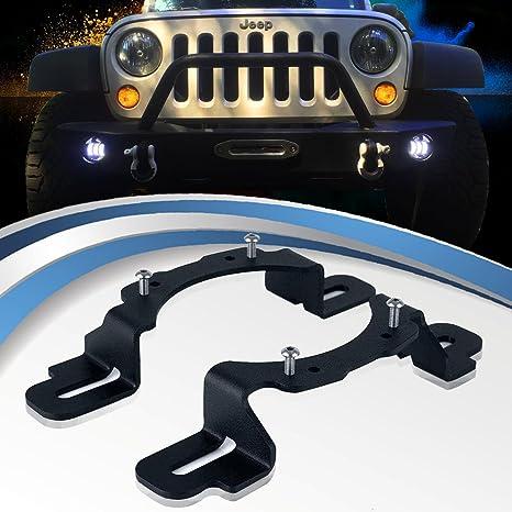 TURBOSII LED 4 Fog Light Mounting Bracket Adapter for 2013-2017 Jeep Wrangler JK Hard Rock Rubicon X 10th Anniversary Editions
