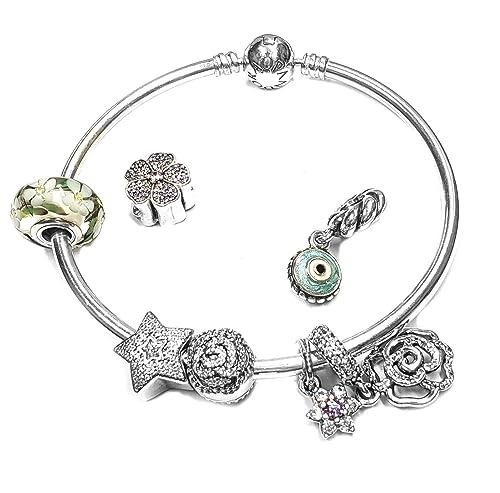 Amazon.com: Pandora Bangle Bracelet w/ 7 Charms in Sterling Silver ...