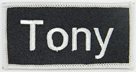 Tony Name Tag Patch Uniform ID Work Shirt Badge Embroidered Iron On Applique