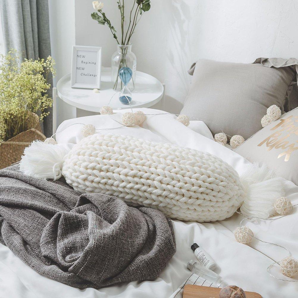 Twinkbling tissé à la main Couvre-lit décoratif Taie d'oreiller Photographie Props Fond Canapé Coussin de dossier rond oreillers Décoration de la Maison, rose, 40cm/15.7in