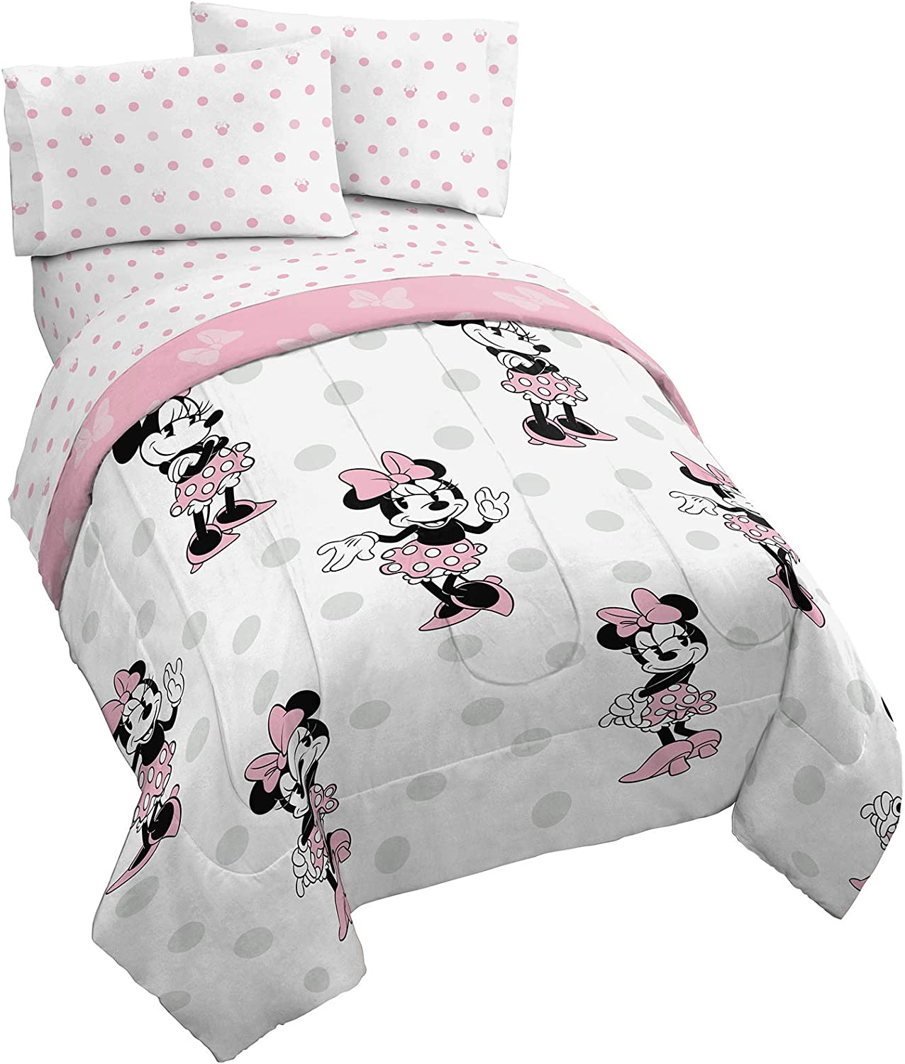 Jay Franco Disney Minnie Mouse Dots 5 Piece Full Bed Set - Includes Reversible Comforter & Sheet Set Bedding - Super Soft Fade Resistant Microfiber (Official Disney Product)