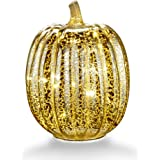 "Mercury Glass Home Decor Accents, XY Decor 7.7"" Battery Operated LED Pumpkin Lights with Timer for Fall, Halloween and Thanksgiving Decoration(Silver)"