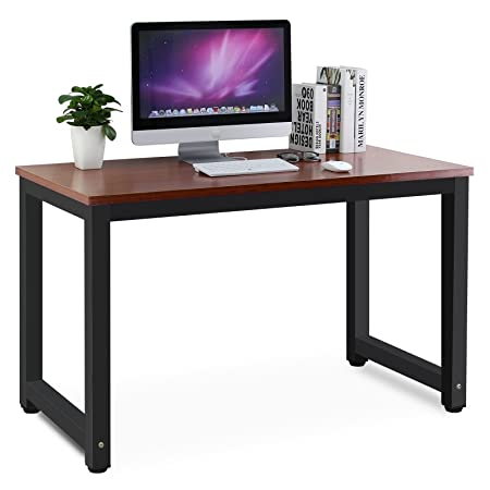 Tribesigns Modern Simple Style Computer Desk PC Laptop Study Table Office Desk Workstation for Home Office, Teak Black Leg