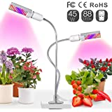 Relassy Lampara Led Cultivo Grow Light 45W con Bombillas de Doble Reemplazable E27 y Cuello de Cisne Flexible para Plantas Cultivo Indoor Hidropónica (M-45W)